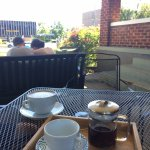 Outdoor seating & a tea tray