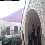 The inside of the Riad from the ground floor where we had dinner. Looking up to the rooftop terr