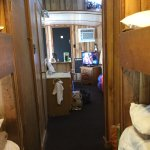 Looking to the front from the bunk area. Notice the plywood bunks have virtually no railing.