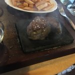 Fillet steak cooked on hot stone