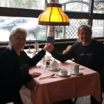 My husband and I enjoying lunch at the hotel dining room,