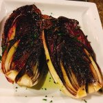 The delicious steak with balsamic and pecorino, the grilled radicchio and the pasta with truffle