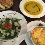 Creamy Vegetable Soup, Creamy Onion Soup and Arugula Salad
