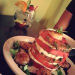 Tomato & mozzarella stack....with white sangria!