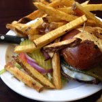 Belen burger customized with a big Hatch green chile and provolone cheese.