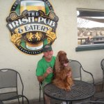 """Bailey"" the Irish Setter and I enjoying a Smithwicks at the Irish Pub on the outdoor patio deck"