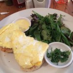 Crabcakes benedict with scrambled eggs, to die for and with a salad, yummmm
