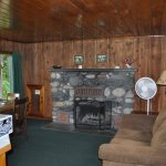The fireplace in Fir Cabin. A great place to spend a quiet evening