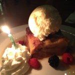 Birthday surprise. Bread pudding.
