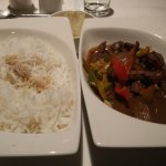 dinner in hotel, steamed rice and beef. Delicious!