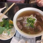 Pho bo vien (beef noodle soup + beef balls)