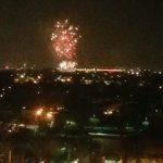 Views of fireworks at Angel Stadium