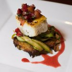 Seared halibut, cherry salsa, asparagus, potato bacon hash brown, dried cherries