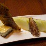 Bleu cheese cheesecake, figs, pistachi-sesame brittle, fresh melon
