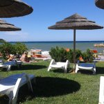 swimming barea with rented sun beds €4,25 for 2 for the day