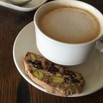 Coffee with Pistachio and cranberry biscotti