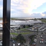 Panoramic shot of the view from my room - airport and bay.