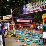 Offerings along the street for the elephant procession the morning of Pooram