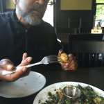 Contemplating the fried Brussels sprouts at Sovereign...
