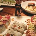 Li'l Butch eyes his Yosef, Burning Man & spicy tuna rolls!