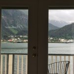 View of Gasineau Channel and downtown Juneau from bed