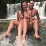 Playing in the waterfalls