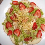 Apple, strawberry, leek, nut salad at Ritchie 88, Ajijic, Mexico