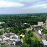 Ariel view of Wind Seeker on the left, Vortex roller coaster in the middle and Diamondback - spl