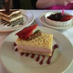ricotta cake, tiramisu, and panna cotta