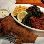 Fried Catfish, Collard Greens, Mac and Cheese, and Beans