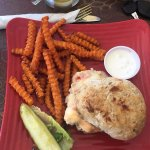 Lobster and whitefish on homemade bread, with sweet potato fries
