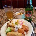 Veggies, Shrimp, Egg Roll, Hot & Sour Soup, Tsing Tao Beer