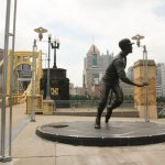 Roberto Clemente statue in front of the park