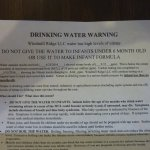 Water Warning on table
