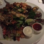 Sorry - forgot the flash! Awesome grilled seafood platter.