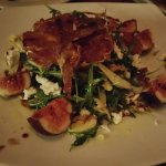 fig, rocket, goats cheese and walnut salad