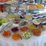 Breakfast spread - salad and fruits