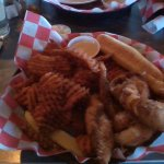 walleye fingers, sweet potato waffle fries, bread stick, and sweet dipping sauce