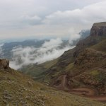 The view of Sani Pass from Sani Mountain Lodge