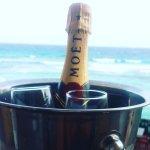 Morning of Annivesary on balcony ..bucket & glasses courtesy of hotel
