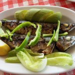 The best mackerel we've ever eaten - accompanied by stuffed zucchini flowers, aubergine salad et