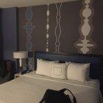 Modern decor around comfy bed