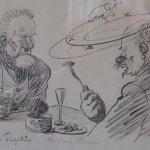 Så här såg kanske ett restaurangbesök ut på 1920-talet. Bild av Albert Engström (1868-1940)