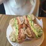 Bagel avocado salmon