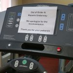 There are 4 fitness machines; 1 was out of order.