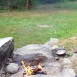 fire ring made with natural rocks
