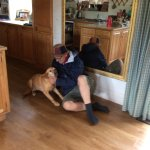Festival-goer consulting with Flossie re mud management