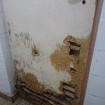 Detalle del estado de la puerta y los hongos