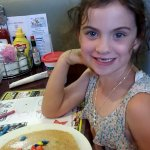 The kids M&M pancakes