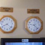 one shot at the reception desk showing the 2 time zones for making sure that I am telling the tr